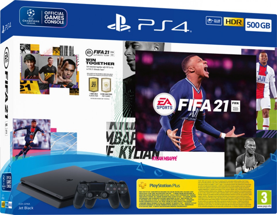 Playstation 4 Sony 500GB Black & Fut 21 Voucher & Ps Plus 14 days & Fifa 21 & 2nd DS4