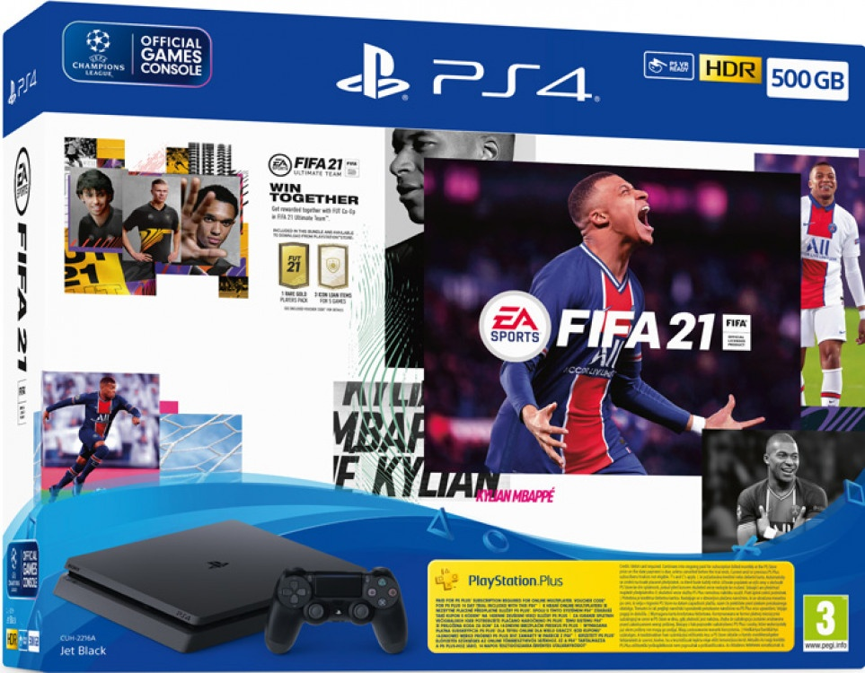 Playstation 4 Sony 500GB Black & Fut 21 Voucher & Ps Plus 14 days & Fifa 21