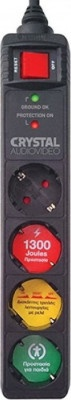 Multi-socket Secure 4-position with switch Crystal Audio Black