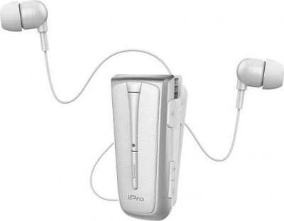 Headset Bluetooth iPro RH219s Retractable White-Silver