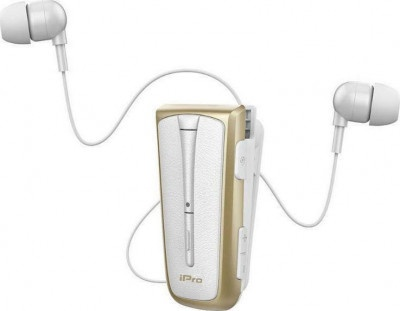 Headset Bluetooth iPro RH219s Retractable White-Gold