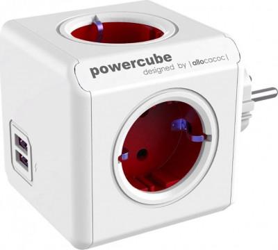 Πολύπριζο Allocacoc Powercube 1202RD Original 4 Θέσεων + 2USB Κόκκινο