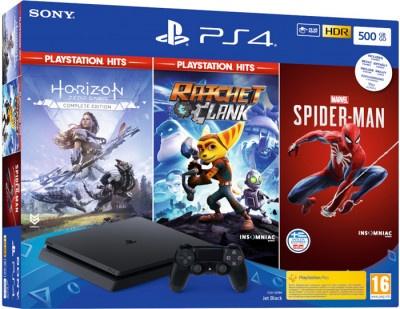 Playstation 4 Sony 500GB Black & Marvel's Spider Man & Horizon Zero Down SP Hits & Rachet & Clank Hits
