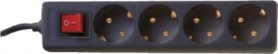 Πολύπριζο 4 Θέσεων με διακόπτη Telco Black